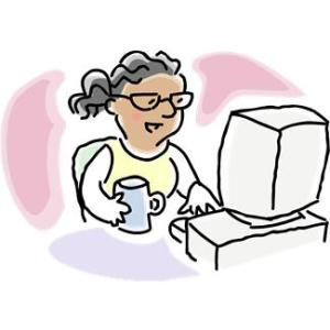 woman, computer and coffee